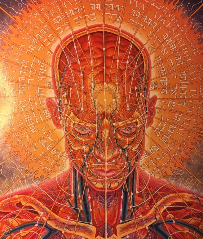 "I(""Praying,"" by Alex Gray, Oil on canvas, 1984)"